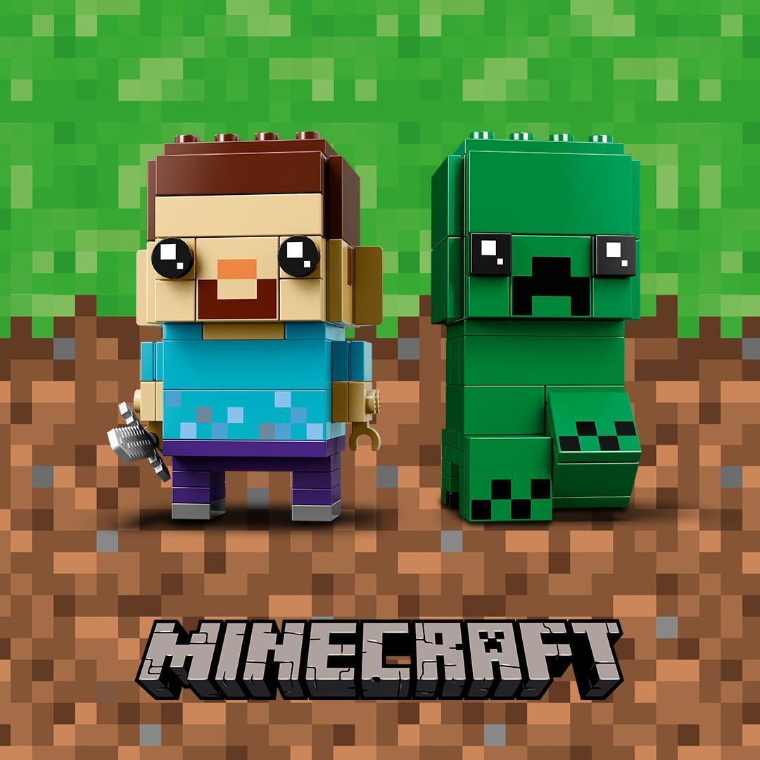 Brickfinder lego minecraft brickheadz steve and creeper 41612 first look - Minecraft creeper and steve ...